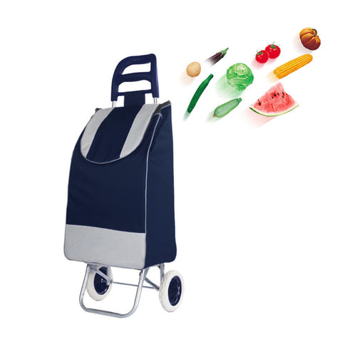 CRONY SC001 Shiping Cart Shopping Trolley Bag Folding Shopping Cart Collapsible Trolley Bag | Navy blue