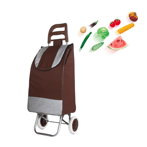 CRONY SC001 Shiping Cart Shopping Trolley Bag Folding Shopping Cart Collapsible Trolley Bag | brown