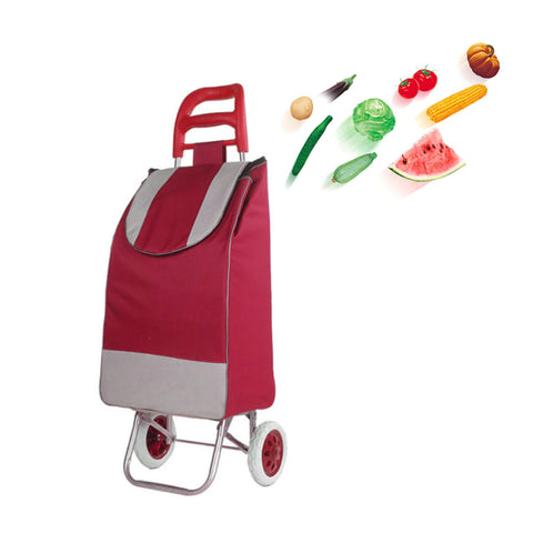 CRONY SC001 Shiping Cart Shopping Trolley Bag Folding Shopping Cart Collapsible Trolley Bag | red