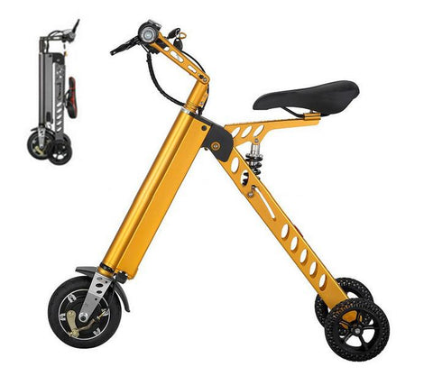 Fashion Two Wheels Electric Folding Bicycle, 36V Lightweight Small Electric Bike 13.5kg E-Bike -H9-3 -Yellow