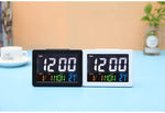 LED Digital Desk Clock - Bedside Large Screen LED Alarm Clock with Date, Temperature | Black