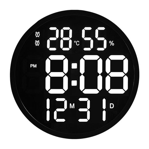 CRONY 12 Inch LED Large Number Digital Wall Clock Temperature And Humidity Electronic Clock Modern Design Decoration Home Office Decor