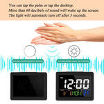 LED Digital Desk Clock - Bedside Large Screen LED Alarm Clock with Date, Temperature | White