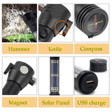 H04-T01 Solar Powered Tactical Flashlight Multi Function Outdoor Car LED Flashlight Ultra Bright Torch Light, with Safety Hammer and Compass