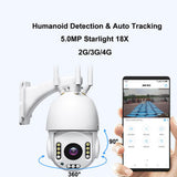 4G ball machines (18X) Camera Humanoid Detection & Auto Tracking Camera TF Card 128G Two Way Audio Full Color Night
