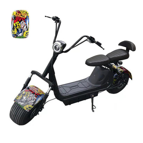 Big Harley BTSpeaker tyre Double Seat 1000W 2-wheel Electric motorcycle-Spiderman | Graffiti