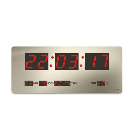CRONY TL-3515A clock Checkmate Bishop Mains Led Calendar Temp Wall Or Desk Clock, 36cm