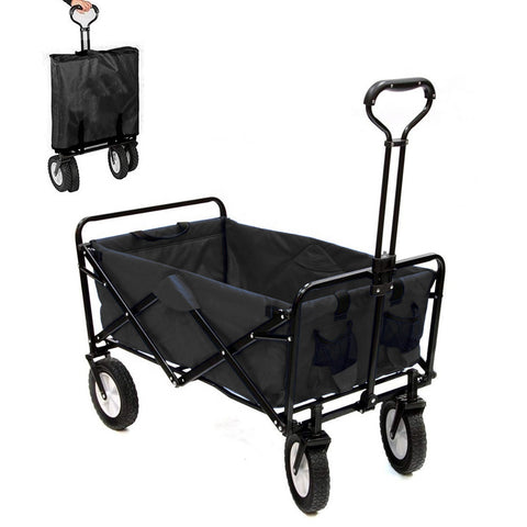 CRONY Heavy Duty  Collapsible Folding  Wagon Utility Shopping Outdoor Camping Garden Cart with Universal Wheels & Adjustable Handle | Black