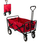 CRONY Heavy Duty Collapsible Folding Wagon Utility Shopping Outdoor Camping Garden Cart with Universal Wheels & Adjustable Handle | RED