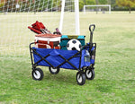 CRONY Heavy Duty  Collapsible Folding  Wagon Utility Shopping Outdoor Camping Garden Cart with Universal Wheels & Adjustable Handle | Green