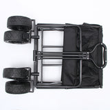 CRONY Folding Push Pull Wagon Collapsible Cart Camping Grocery Canvas Sturdy Portable Buggies | BLACK