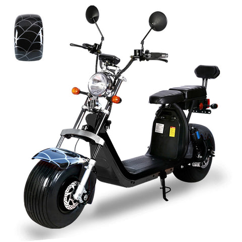 G-029 High Speed Harley tyre Double Seat with double battery 60V 3000W 80km/h | Black spider