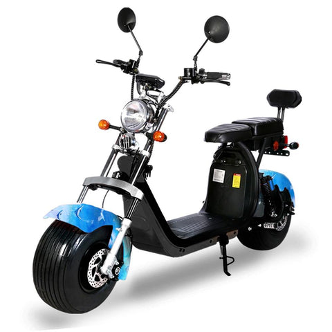 G-028 Harley tyre Double Seat with double battery Rugged 48V 1000W Electric Fat Tire Electric motorcycle | Dolphin blue