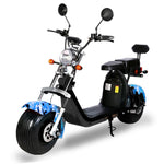 G-028 Harley tyre Double Seat with double battery Rugged 48V 1000W Electric Fat Tire Electric motorcycle | Blue