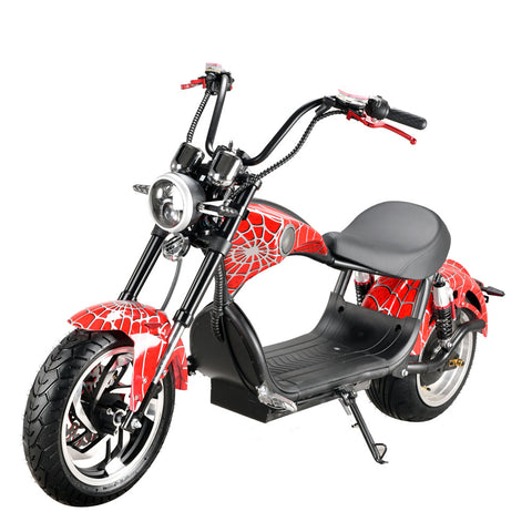 CRONY X1 Harley Electrocar car 2000W Citycoco  Fat Tire Electric motorcycle | RED spider