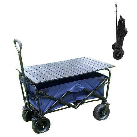 CRONY Ym-003 Folding Shopping Cart With Cover For Beachside Camping Outdoor Heavy Duty Portable Trolley /Blue