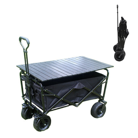 CRONY Ym-003 Folding Shopping Cart With Cover For Beachside Camping Outdoor Heavy Duty Portable Trolley  /Black