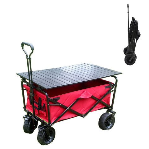 CRONY Ym-003 Folding Shopping Cart With Cover For Beachside Camping Outdoor Heavy Duty Portable Trolley /Red