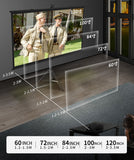 150 Inches Tripod Projector Screen with Stand, Portable Foldable Projection Movie Screen Fabric