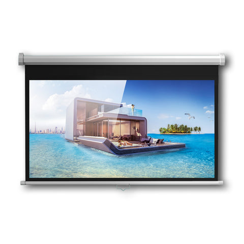 CRONY 72 Inch 4:3 Anti-Light Projection Screen Widescreen Projector Manual Pull Down Projection Screen
