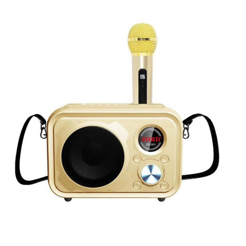 SDRD Sd-501 Home Speaker Microphone Integrated Single Sing Mobile Phone Karaoke | Gold