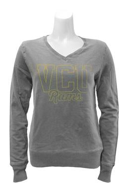 VCU V Neck Ladies Pullover long sleeve T-shirt