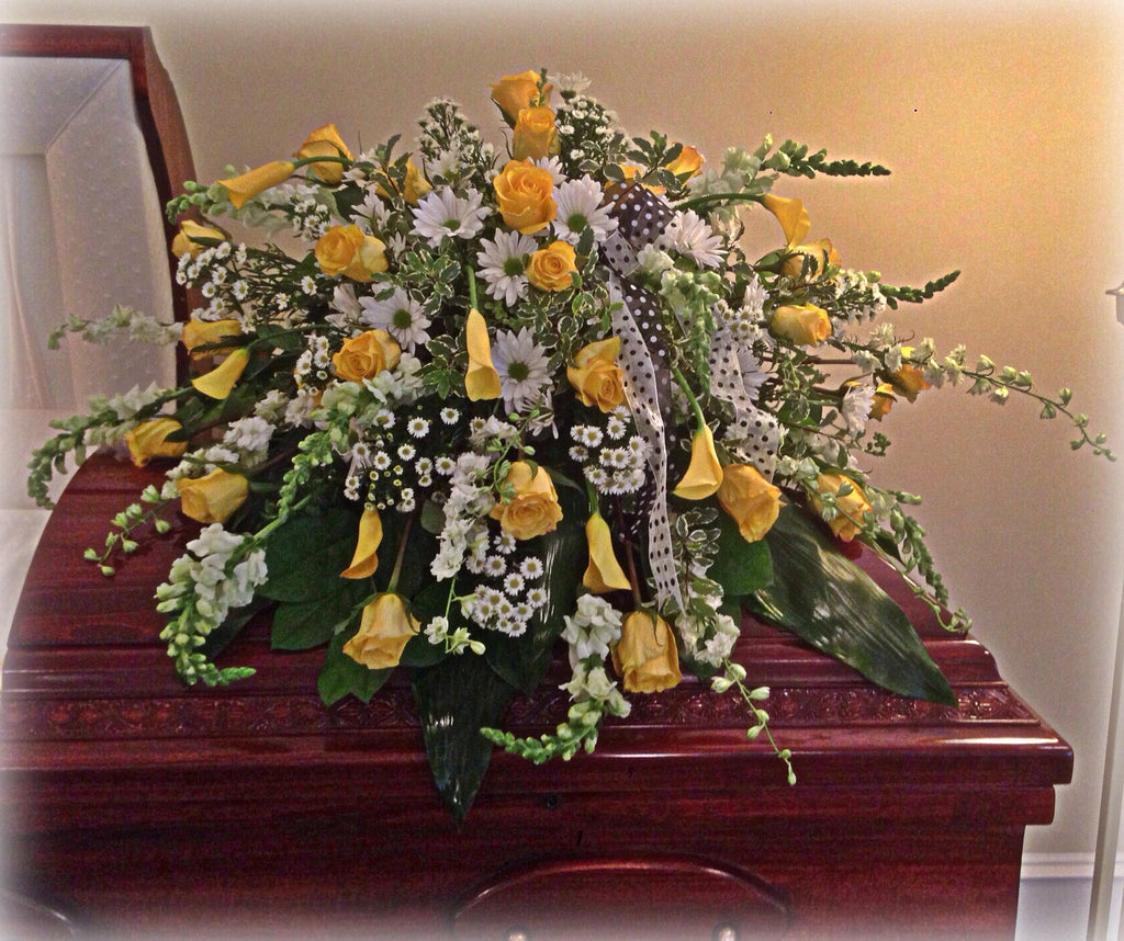 Yellow Daisy a Day Casket