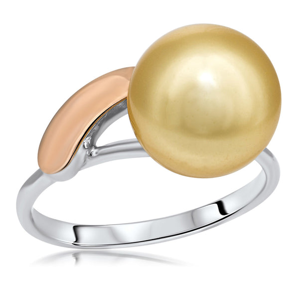 875 Silver w/ Gold Overlay Ring with Yellow Shell Pearl