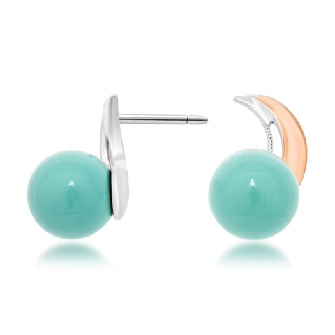 875 Silver w/ Gold Overlay Earrings with Blue Shell Pearl