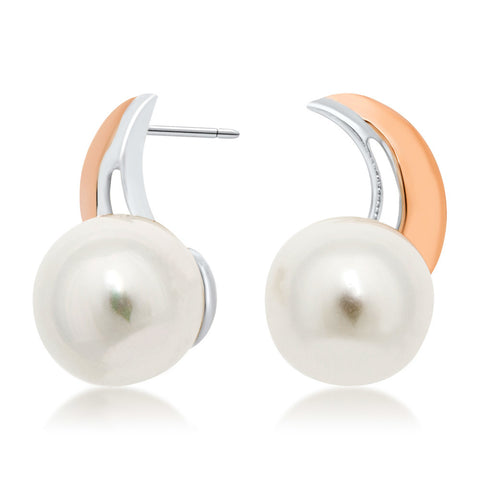 875 Silver w/ Gold Overlay Earrings with White Shell Pearl