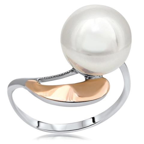 875 Silver w/ Gold Overlay Ring with White Shell Pearl