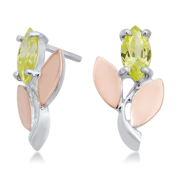 925 Silver w/ Gold Overlay Earrings with Green CZ