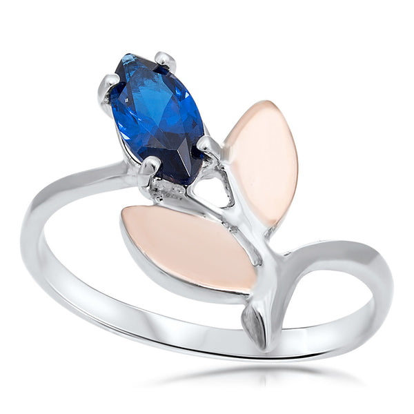 925 Silver w/ Gold Overlay Ring with Blue Spinel