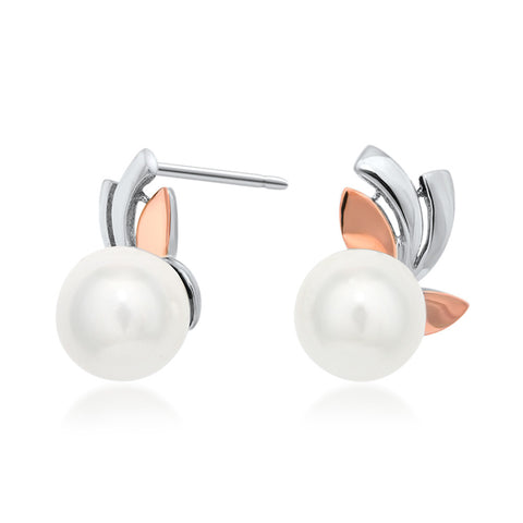 925 Silver w/ Gold Overlay Earrings with White Shell Pearl