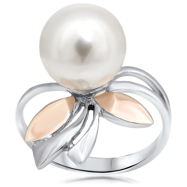 925 Silver w/ Gold Overlay Ring with White Shell Pearl