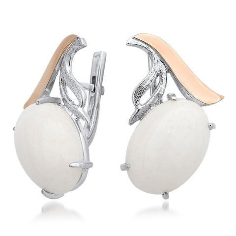 875 Silver w/ Gold Overlay Earrings with White Agate