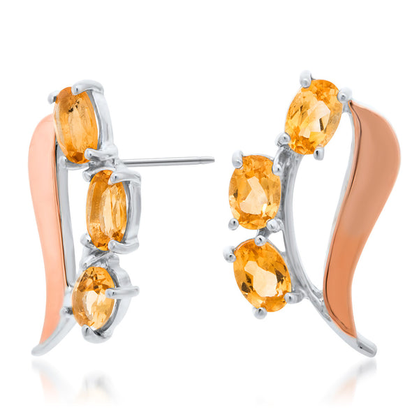 875 Silver w/ Gold Overlay Earrings with Yellow Citrine