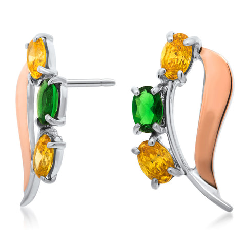 875 Silver w/ Gold Overlay Earrings with Yellow CZ, Green CZ