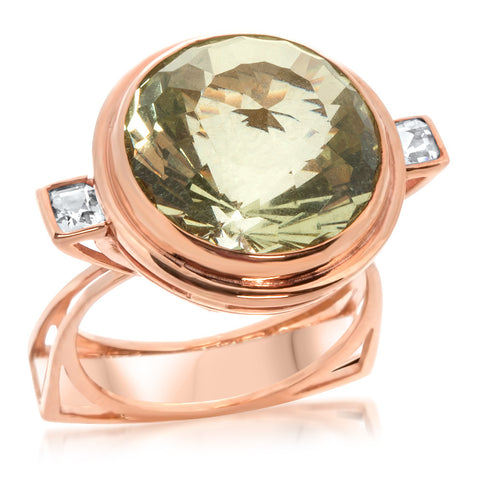 14K Pink Gold Ring with Green Beryl