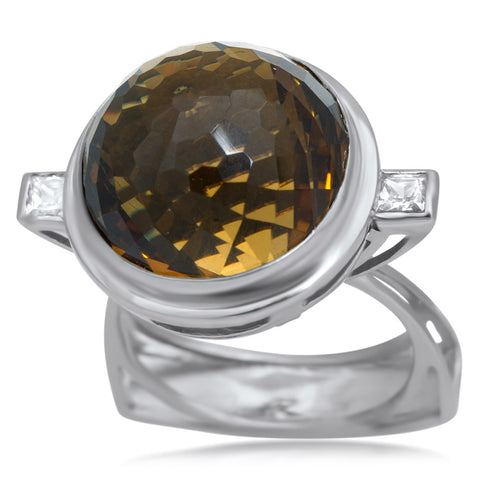 875 Silver Ring with Cognac Citrine