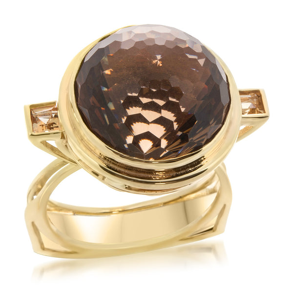 14K Yellow Gold Ring with Smoky Quartz