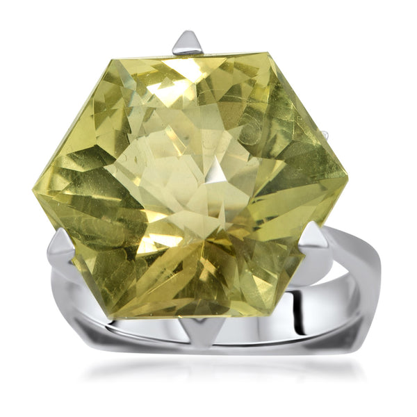 875 Silver Ring with Green Citrine