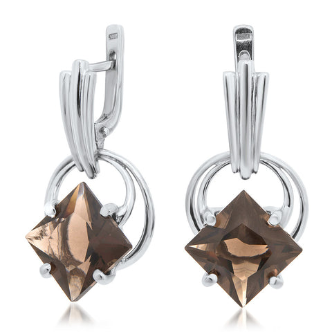 925 Silver Earrings with Smoky Quartz
