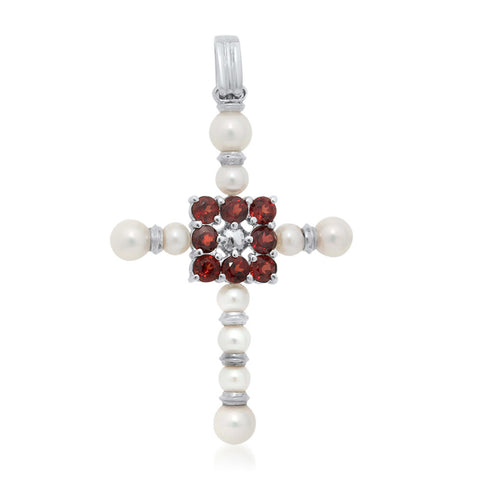 925 Silver Pendant with White Cultured Pearl, Garnet