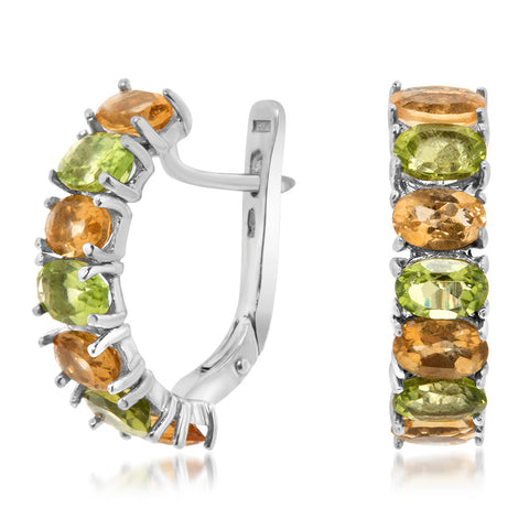 925 Silver Earrings with Yellow Citrine, Peridot