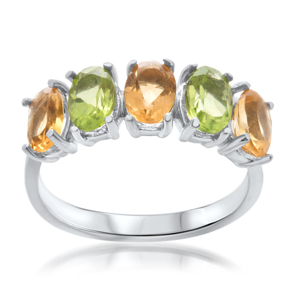 925 Silver Ring with Yellow Citrine, Peridot