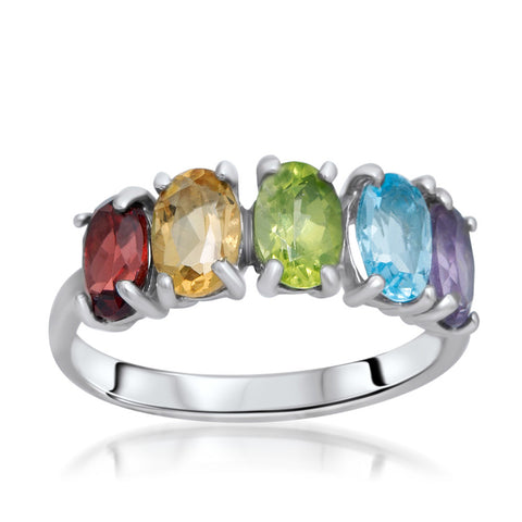 875 Silver Ring with Amethyst, Yellow Citrine, Garnet, Peridot, Blue Topaz