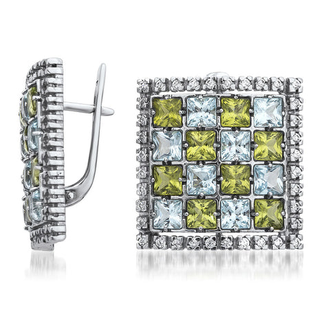 875 Silver Earrings with Blue Topaz, Peridot