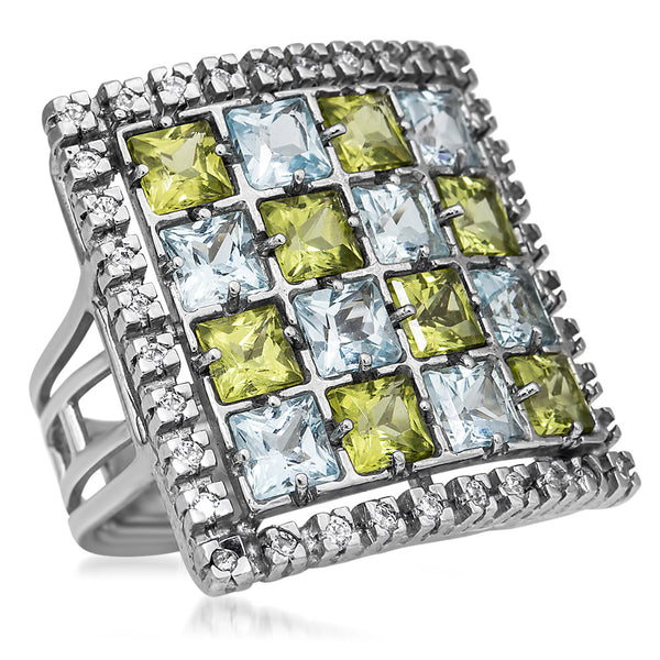 875 Silver Ring with Blue Topaz, Peridot