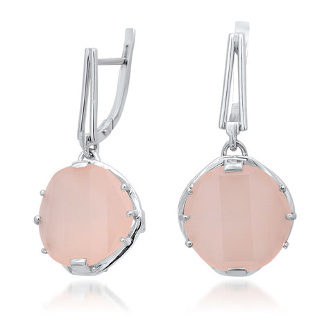 925 Silver Earrings with Pink Agate